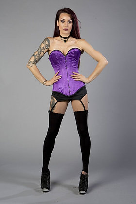 Burleska Purple with Black Trim Victorian Steel Boned Satin Finish Corset