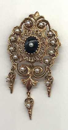 Antique Victorian 14k Gold Brooch Pin / Pendant with Seed Pearls and Jet