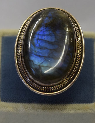 Large Oval Shape Moonstone Silver Ring Size 7.5