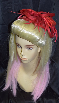 Fancy Red Sequin and Feather Fascinator