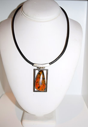 Cognac Baltic Amber set in Silver Pendant and Leather