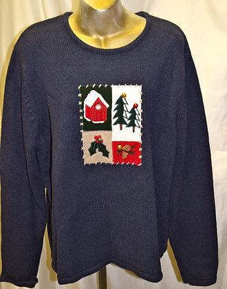 Vintage Christmas Portrait Sweater XL