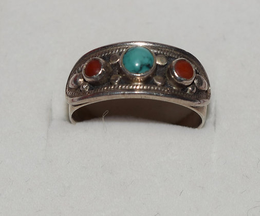 Vintage Turquoise & Red Coral Silver Ring Size 8 1/2