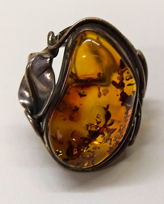 Cognac Baltic Amber Floral Design Sizable Ring