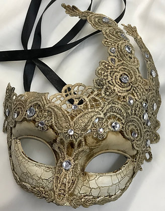 Lace Victorian Jester Masquerade Mask with Jewels