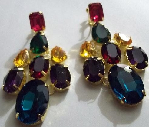 Czechoslovakia Crystal Chandelier Clip-on Earrings