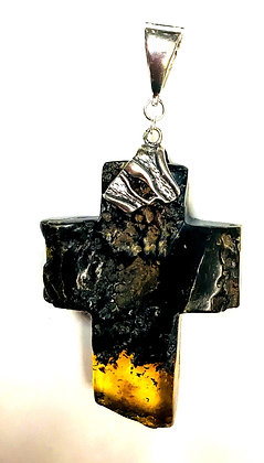 Baltic Amber Natural with Cognac Large Cross Pendant