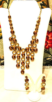Amber Colour Round Shape Drops Design Necklace and Earrings Set