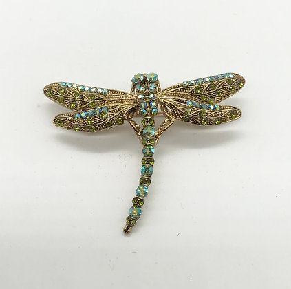 Dragonfly Brooch Pin Green & Gold