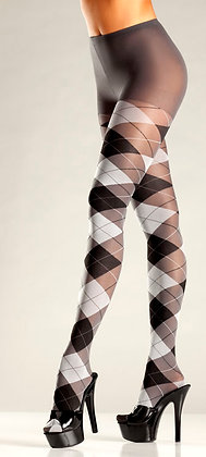 Grey and Black Argyle Tights