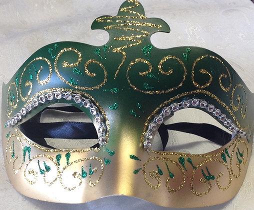 Green and Gold Decorative Masquerade Mask