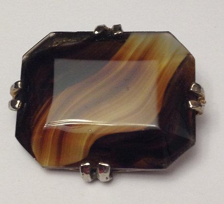Vintage Brown Glass Brooch
