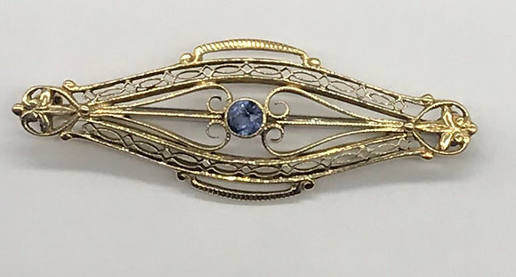 Antique Sapphire Set in 14k Yellow Gold Brooch