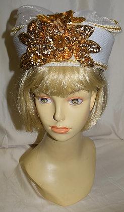 Vintage Beige Pillbox with Sequin Design Fancy Summer Hat