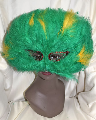 Green & Yellow Feather Masquerade Mask