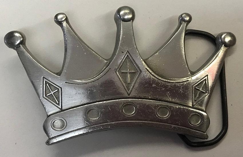 Vintage Pewter Crown Belt Buckle