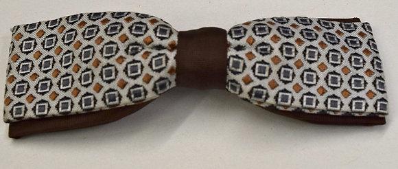 Vintage 1950's Clip Bow Tie Brown & Beige