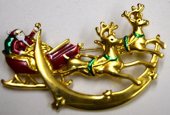 Vintage Christmas Santa, Reindeer Sled Brooch Pin