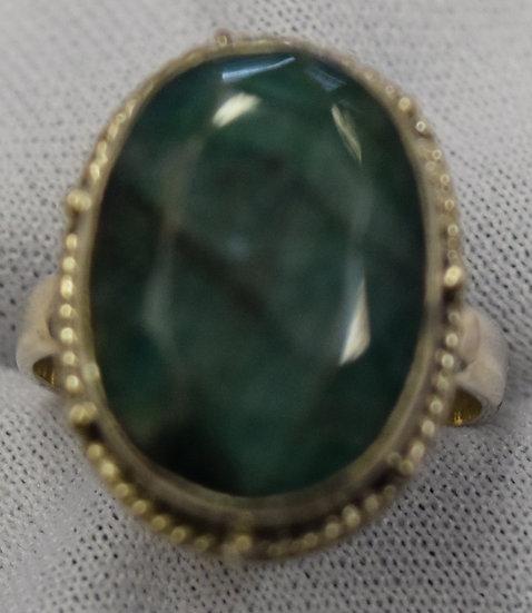 Green Quartz Silver Ring Size 6.5