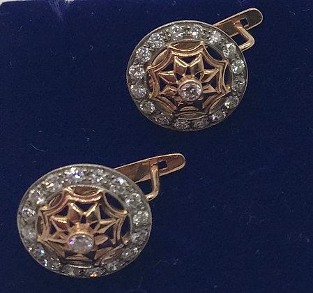 Handmade 14k White & Rose Gold Earrings with Diamonds