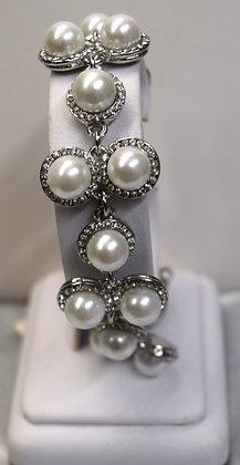 Costume Pearls and Rhinestones Bracelets Silver