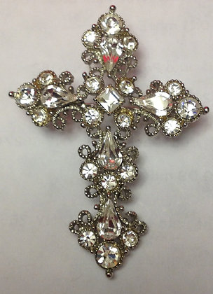 Cross Brooch Pin Clear