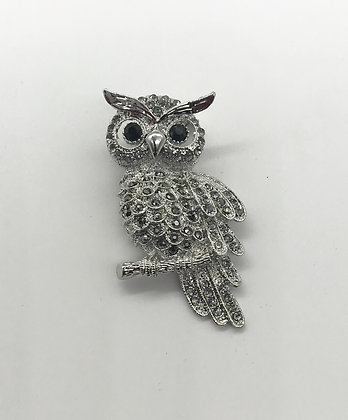 Owl Brooch Pin With Grey Rhinestones