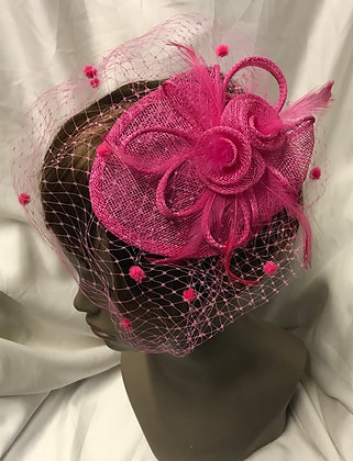 Small Pear Pillbox Fancy Fuchsia Floral with Birdcage Design Fascinator