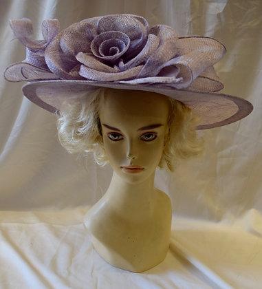 Lilac Purple Fancy Derby Hat with Flower Design