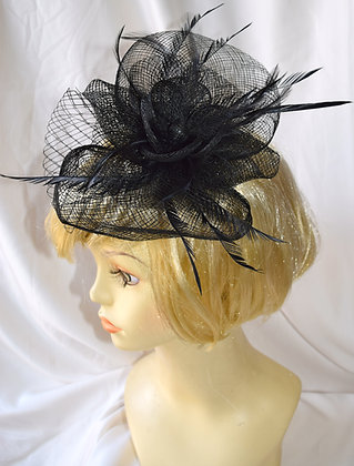 Black Floral Fancy Fascinator with Feathers