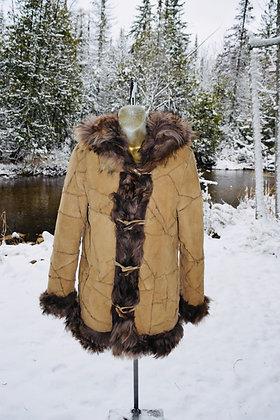 Vintage Sheepskin with Fox Fur Hooded Beige and Brown Jacket