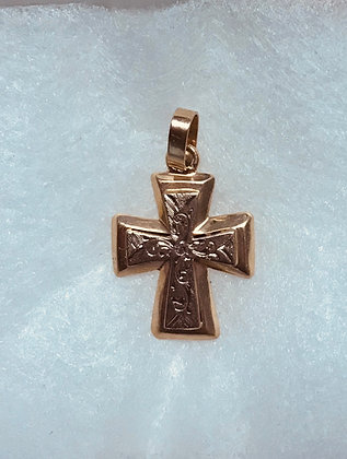 14k Yellow and White Gold Cross Pendant with Fancy Design - Diamond