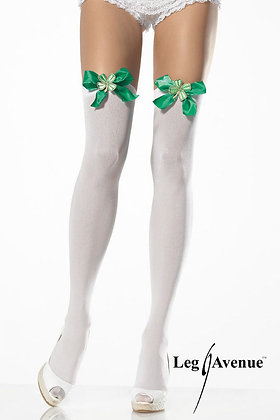 Opaque Thigh Highs with Satin Bow & Lucky Clover
