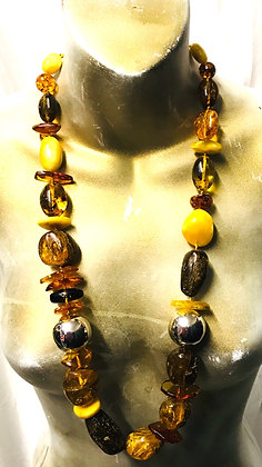 Multi Colours & Shapes Authentic Baltic Amber Beaded Necklace