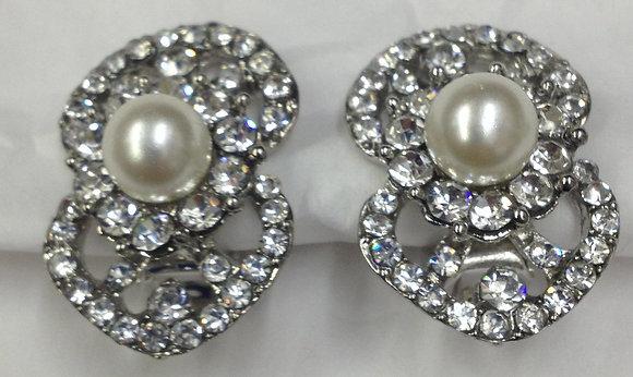 Fancy Pearl & Rhinestone Clip-on Earrings