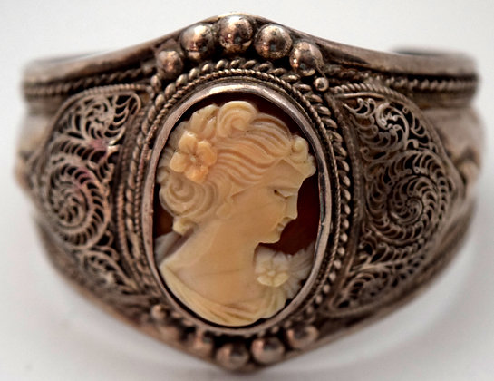 Vintage Cameo Cuff Silver Bracelet