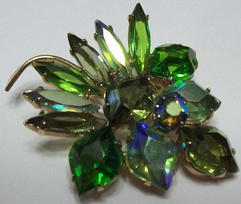 Vintage Costume Green flower Brooch Pin