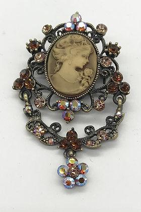 Victorian Style Costume Bronze Colour Cameo Brooch