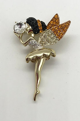 Fairy with Movable Legs Brooch Pin Yellow Colour