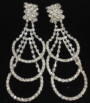 Deluxe Hoop Chandelier Drop Clip-on Earrings