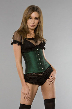 Burleska Green Steel Boned Satin Finish Underbust Corset