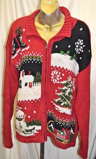 Vintage Winter Portrait Christmas Sweater L