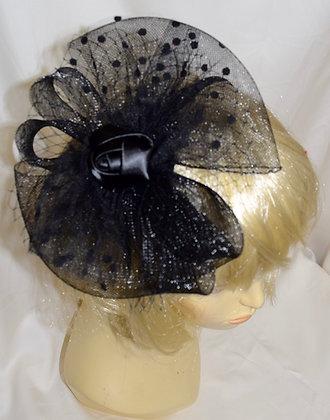 Flower Style Fancy Fascinator Black