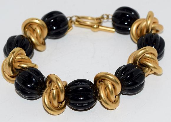 Vintage Anne Klien Gold and Black Costume Bracelet