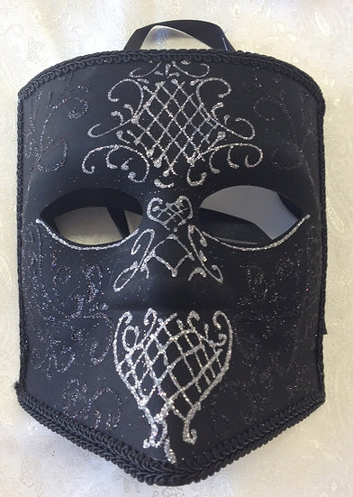 Bauta Masquerade Mask with Black & Silver Sparkle