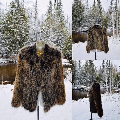 Vintage Woven Fox Fur Jacket