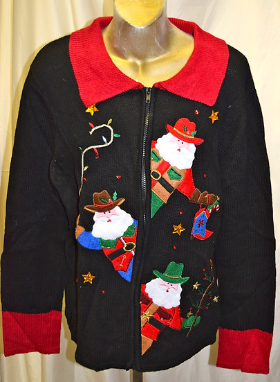 Vintage Western Santa Christmas Sweater XL