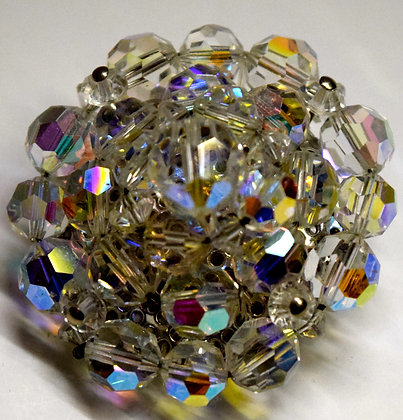 Vintage Crystal Round Shape Floral Costume Brooch Pin