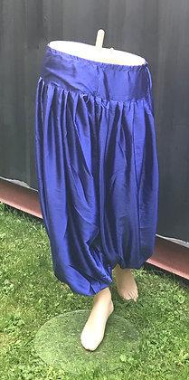 Royal Blue Satin Balloon Harem Pants