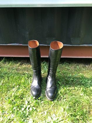 Vintage Men's Black Leather Riding Boots Size 10 1/2